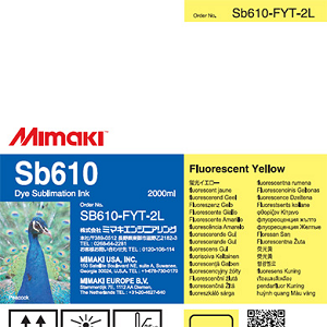 SB610 Dye Sublimation Ink Pack 2000ml Fluorescent Yellow Transfer