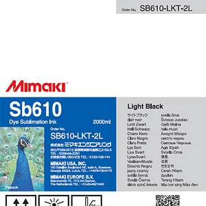 SB610 Dye Sublimation Ink Pack 2000ml Light Black Transfer