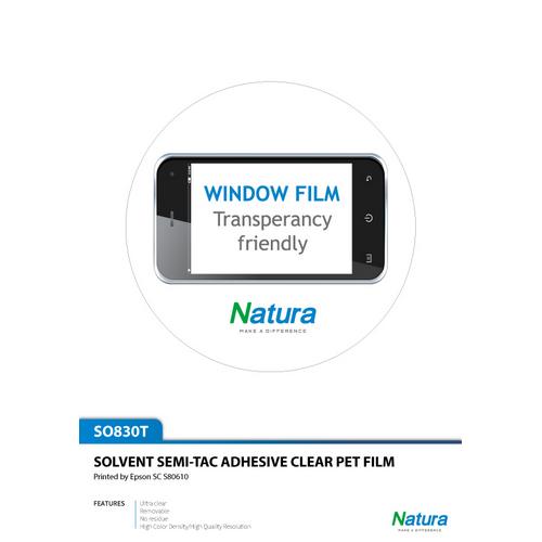 Natura SO830 Solvent Semi-Tac Adhesive Clear PET Film