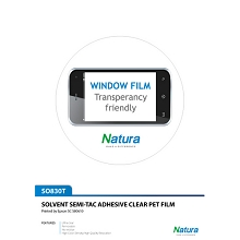 Natura SO830 Solvent Semi-Tac Adhesive Clear Film 235gsm 7.2mil 50 Inches x 100 Feet