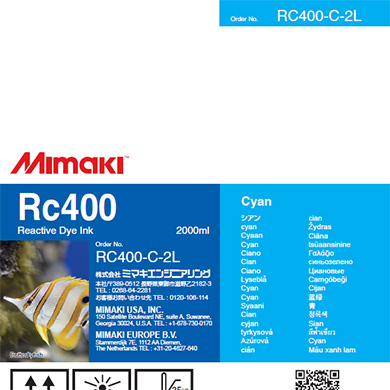 Mimaki RC400 Reactive Dye Ink 2000ml Cyan