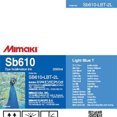 SB610 Dye Sublimation Ink Pack 2000ml Light Blue Transfer