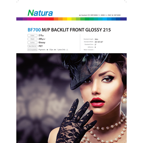 Natura BF700 Microporous Backlit Front Glossy 215 8.6mil 42 Inches x 100 Feet