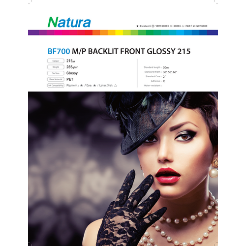 Microporous Backlit Front Glossy 215 8.6mil 285gsm 60 Inches x 100 Feet