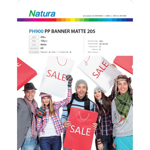 Natura PH900 Polypropylene Banner Matte 205 130gsm 8.2mil 60 Inches x 100 Feet