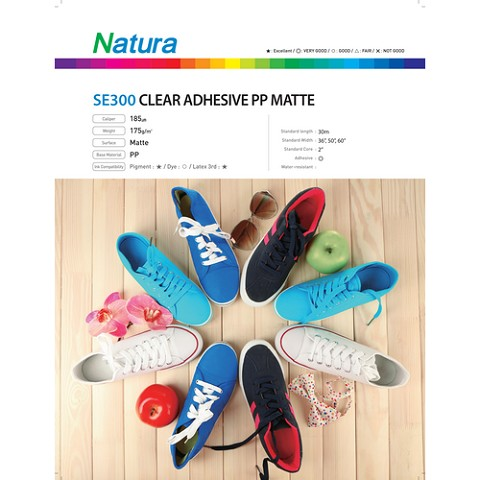 Natura SE300 Clear Adhesive Polypropylene Matte 175gsm 7.4mil 50 Inches x 100 Feet