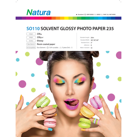 Natura SO110 Solvent Glossy Photo Paper 235gsm 9mil 54 Inches x 100 Feet