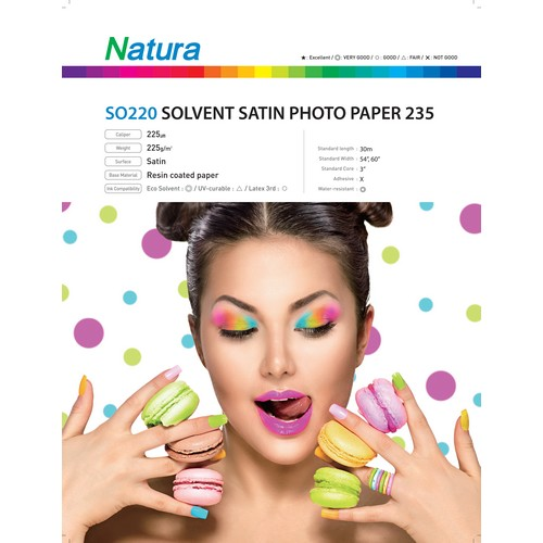 Natura SO220 Solvent Satin Photo Paper 235gsm 9mil 54 Inches x 100 Feet