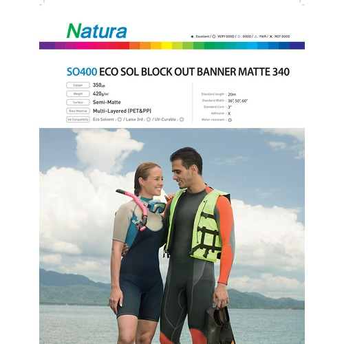 Eco-Solvent Block Out Banner Matte 340 420gsm 13.6mil 54 Inches x 100 Feet
