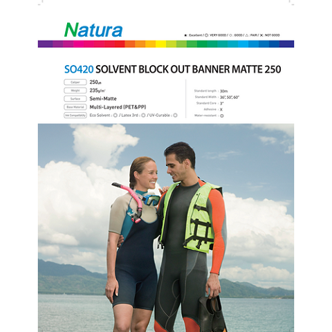 Natura SO420 Solvent Block Out Banner Matte 250 220gsm 10mil 50 Inches x 100 Feet