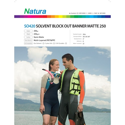 Solvent Block Out Banner Matte 250 220gsm 10mil 50 Inches x 100 Feet