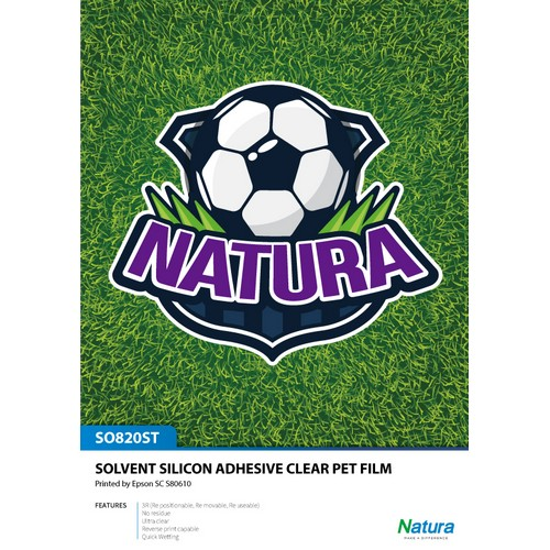 Natura SO820ST Solvent Silicone Adhesive Clear PET FILM 235gsm 7.4mil 54 Inches x 100 Feet